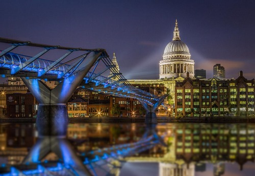London St Pauls Cathedral Millennium Bridge River Thames Reflection