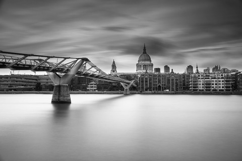 London St Pauls Cathedral and Millennium Bridge over River Thames LondE xposure