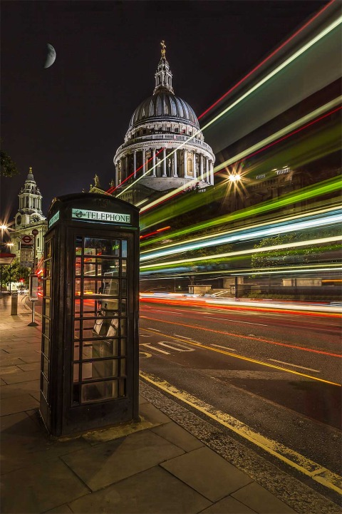 London St Pauls Cathedral Night Telephone Box Car Lights