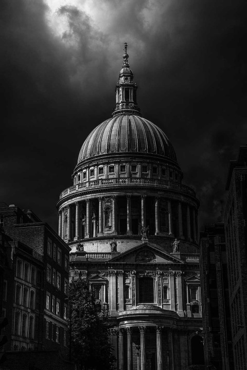 London St Pauls Cathedral at Night with moody sky clouds