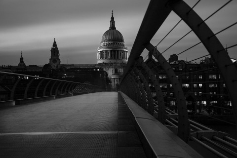 London St Pauls Cathedral View From Millennium Bridge at Night