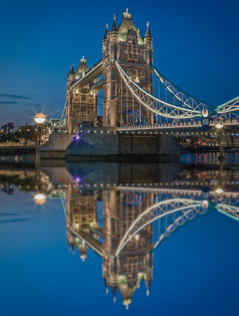 London Tower Bridge Lights at Night Reflected in River Thames