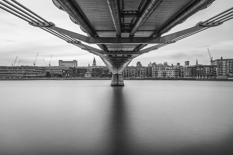 London Under Millennium Bridge River Thames Black and White