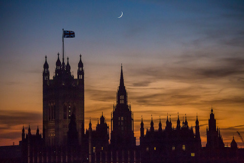 London Westminster Palace Parliament Building Union Flag sunset night sky