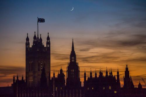 London Westminster Palace Parliament Building Union Flag sunset night sky