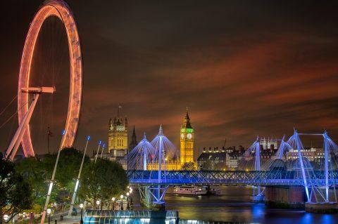 London-big-ben-eye-skyline-sunset-night