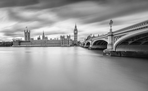 River Thames London UK Long Exposure Panorama Cityscape