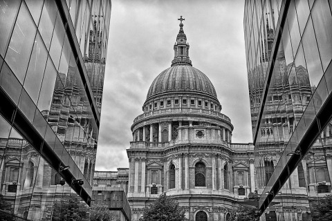 London St Pauls Cathedral England Architecture black and white