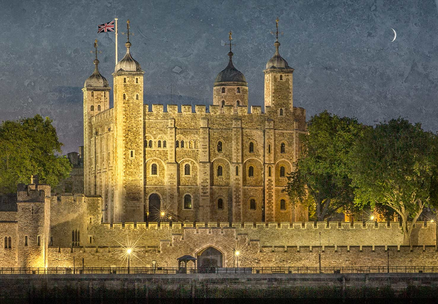 London Tower Of London at Night and River Thames textured with crescent moon