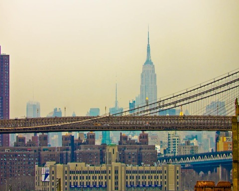 Brooklyn Bridge and Empire State Building New York City NYC