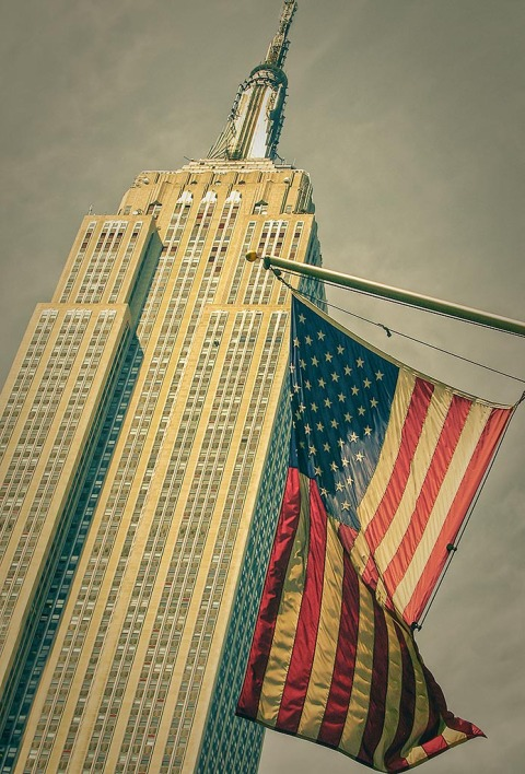 Empire State Building NYC New York City flag