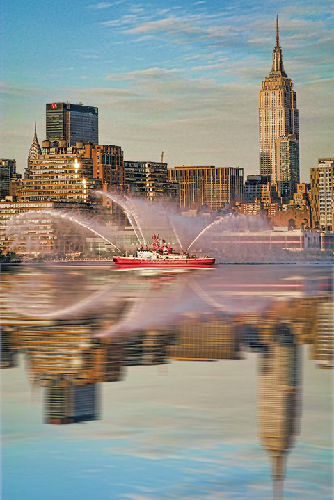 Fire Dept FDNY Boat on Hudson River New York City NYC