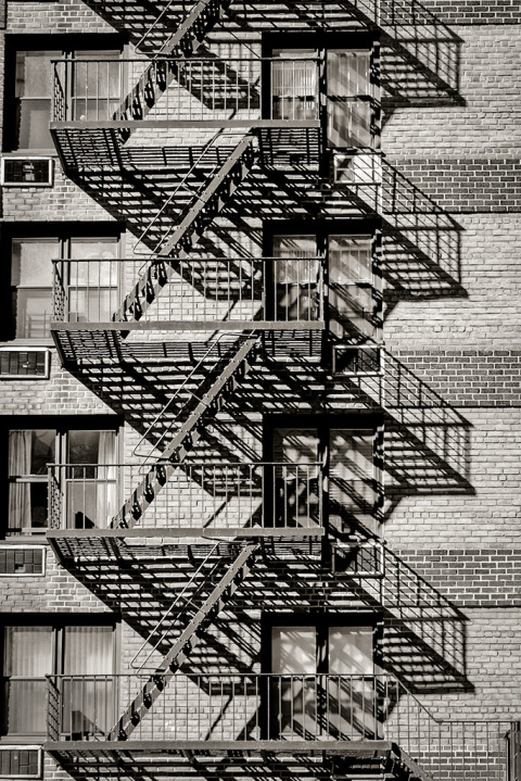 Fire Escapes Shadows architecture New York City NYC