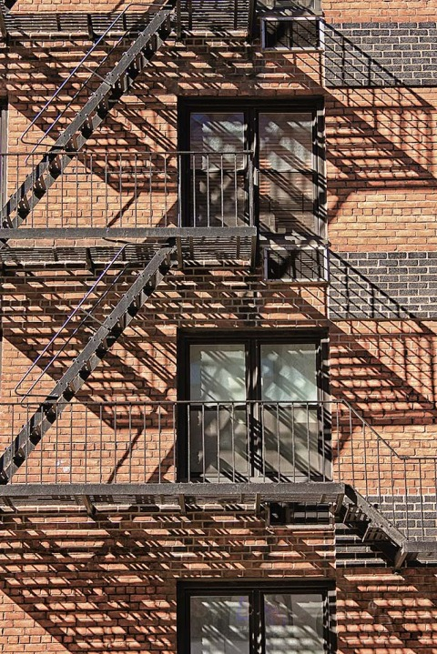 Fire Escapes shadows NYC New York City