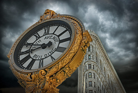 Flatiron building and Clock in NYC New York City