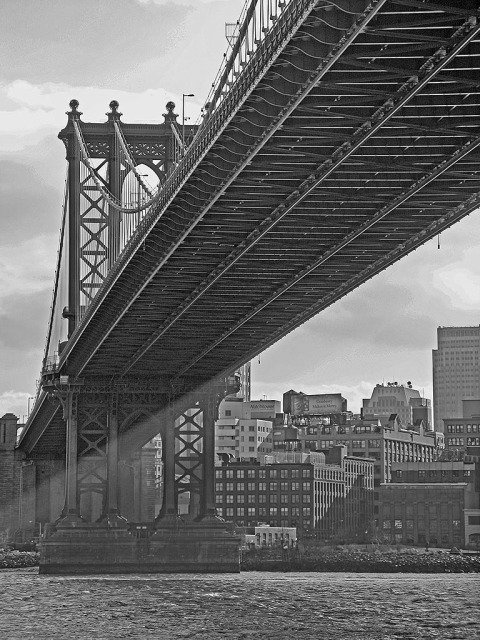 Manhattan Bridge Black and White in New York City NYC