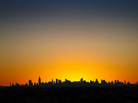 Manhattan Skyline Sunset NYC New York City silhouette