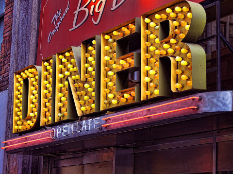 Retro Diner Sign in NYC New York City