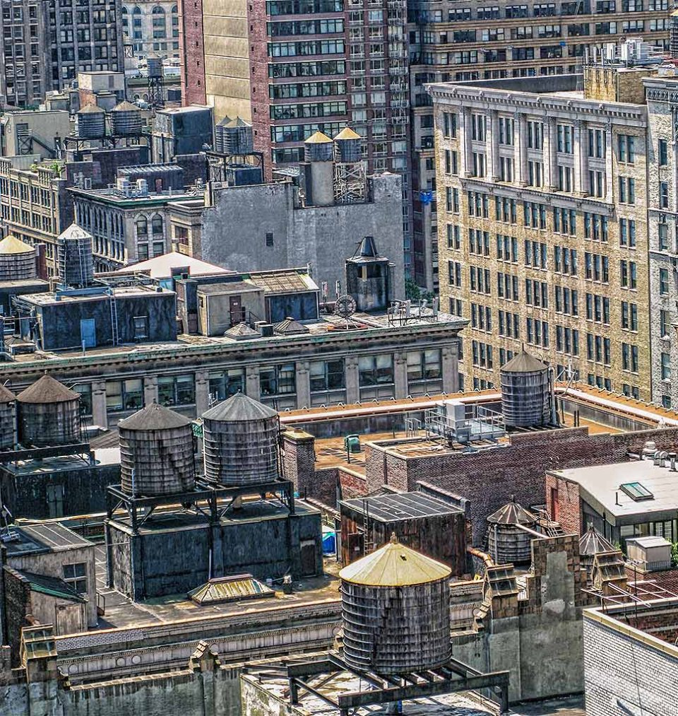 Rooftops and water towers in New York City NYC