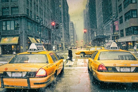 Snow and taxi cabs in NYC New York City