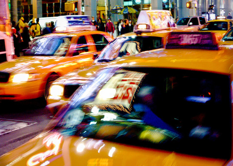 taxi traffic in Times Square NYC New York City at night