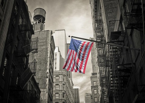 Water Tower American Flag New York City NYC