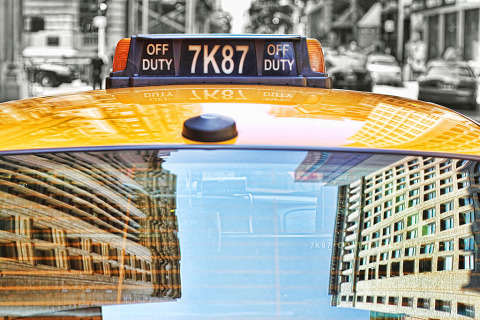 Yellow Taxi Cab Window reflections New York City NYC