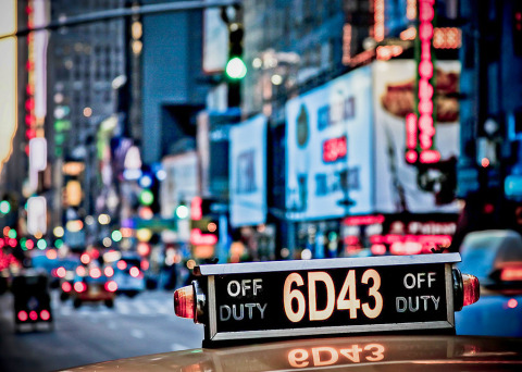 Yellow Taxi Cabs Off Duty sign New York City NYC