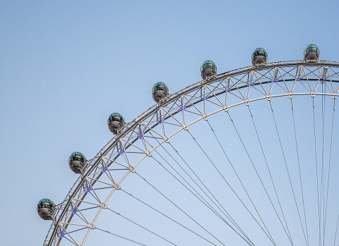 Close up of the London Eye Ferris wheel in England