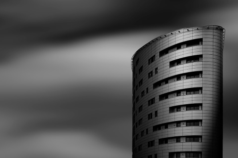 Architecture of building in London England in Bahamas long exposure with Clouds in Black and White