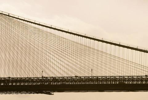 Brooklyn Bridge Suspension Cables New York City NYC in Sepia