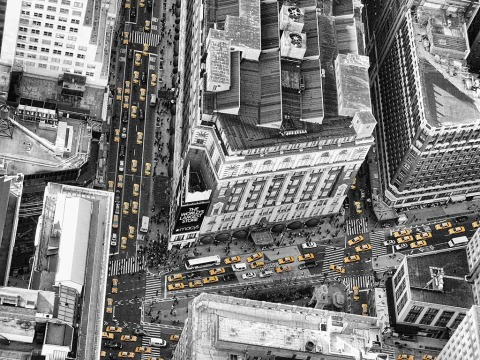 looking-down-at -streets-macys-manhattan-NYC-New-York-City-yellow-taxi-cabs-two-tone