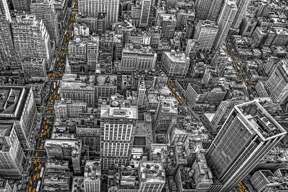 looking-down-at -streets-manhattan-NYC-New-York-City-yellow-taxi-cabs