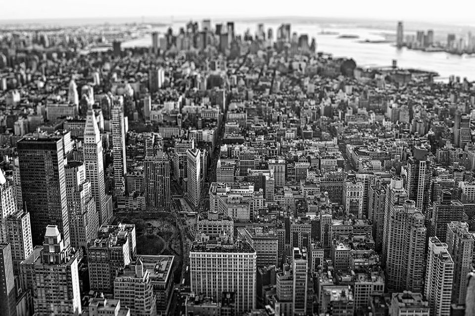 Classic Downtown view of Manhattan NYC New York City in black and white
