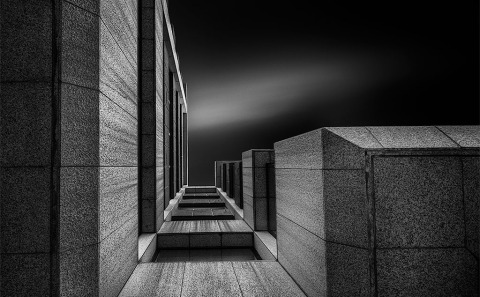 Looking Straight Up architectural Building Long Exposure Black and White