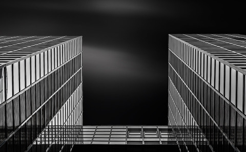 Glass Building Long Exposure Black and White I