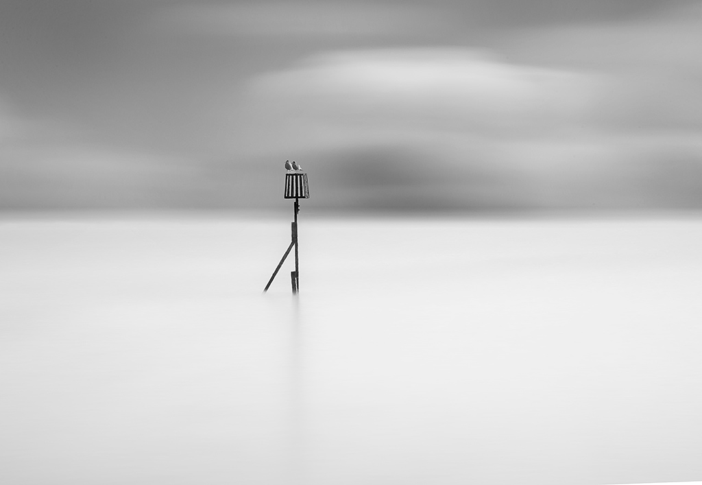 seascape ocean minimal long exposure metal post with seagulls moving dramatic clouds in black and white