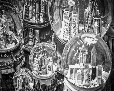 snowglobes of new york city NYC in black and white I