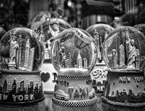 snowglobes of new york city NYC in black and white II