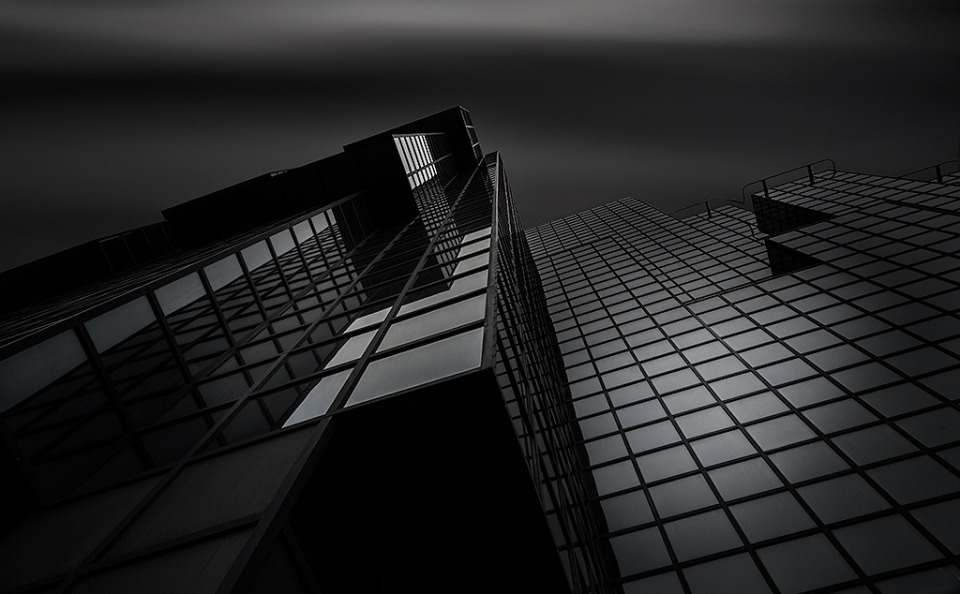 Glass Building Long Exposure Black and White