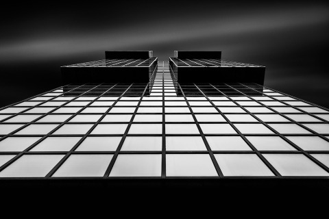 Glass Squares Building Long Exposure Black and White