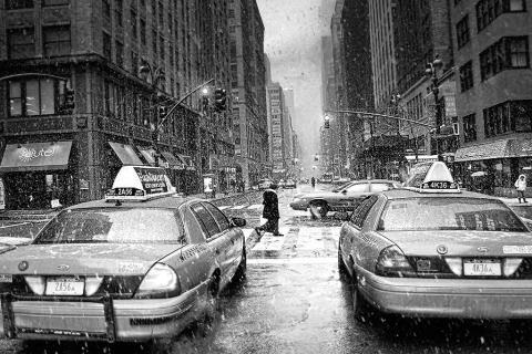 Midtown Manhattan snow taxi street scene