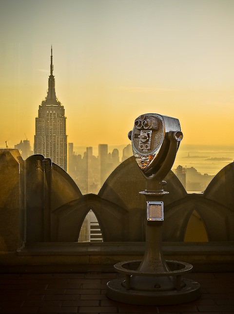 View of Empire State Building and Binoculars Building in NYC New York City