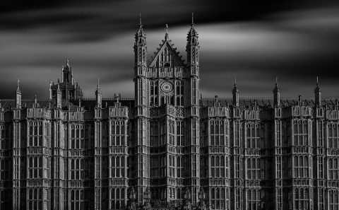 Westminster Palace Houses of Parliament Architecture in Black and White Long Exposure in London England