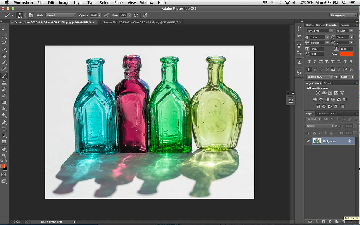 photoshop open image of glass bottles still life