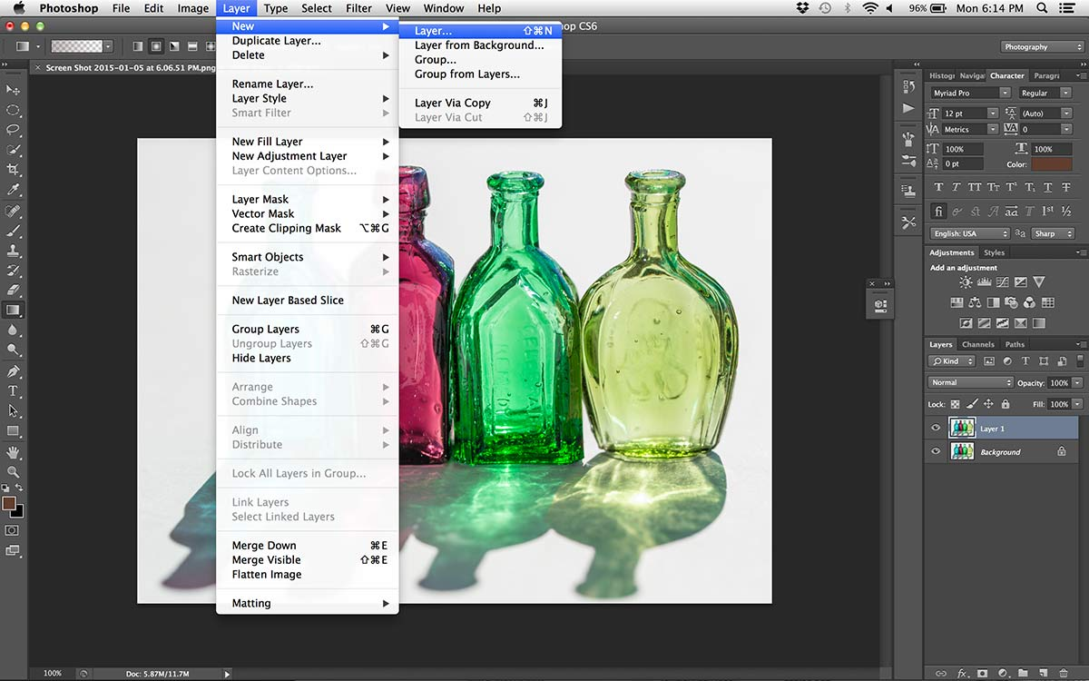 photoshop open image of glass bottles still life create layer mask