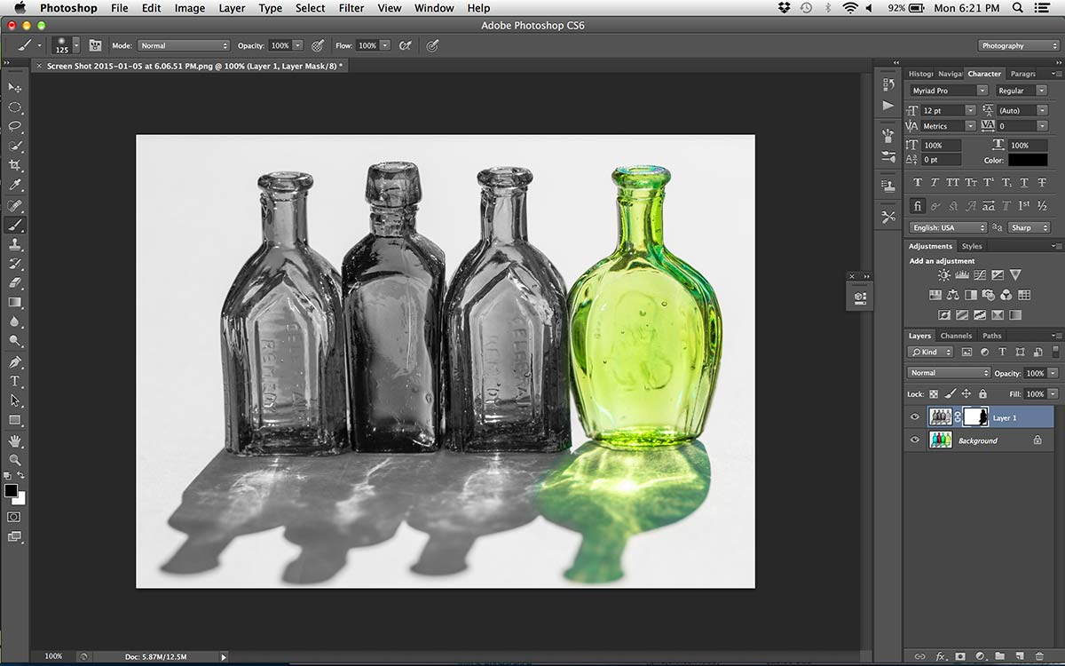 photoshop image of glass bottles still life selective color final image