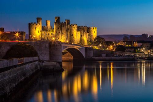 Conway-Castle-Gwynedd-Wales-UK-night-reflections
