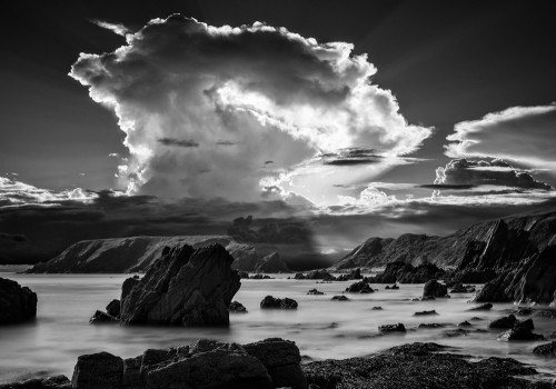 Pembrokeshire-coast-landscape-black-white-sun-beam-clouds