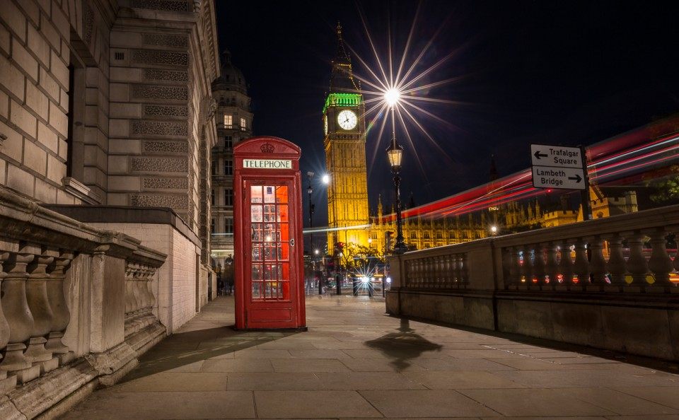 London-night-street-scene-big-ben-red-phone-box